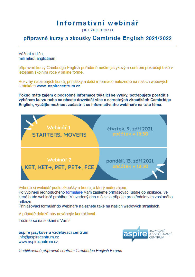 Informativní webinář pro zájemce o přípravné kurzy a zkoušky Cambride English 2021/2022